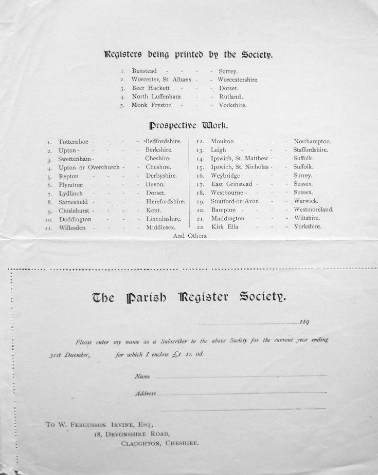 Parish Register Society - page 3