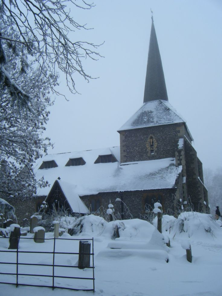 Banstead - All Saints church in the snow