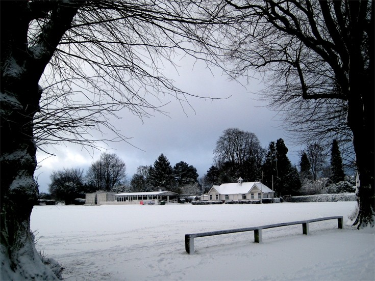 Banstead Village Cricket Field in the snow