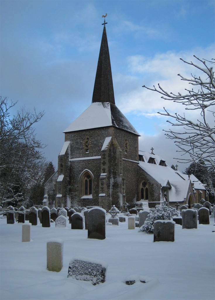 Banstead All Saints Church after snowfall