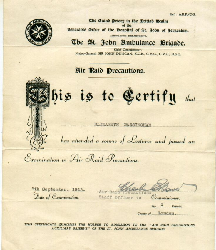 Air Raid Precautions certificate