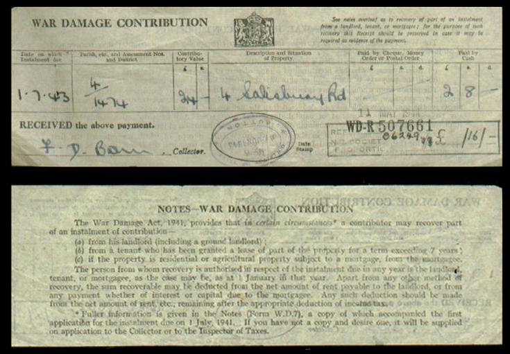 War damage contribution receipt