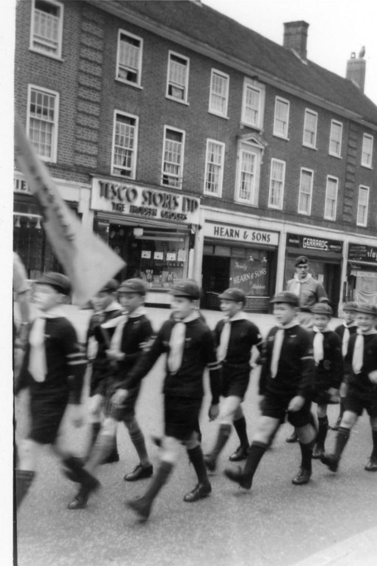 Cub Scouts marching in Banstead  High St 1950s