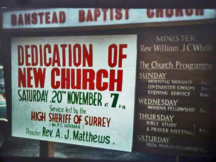 Dedication of Banstead Baptist Church