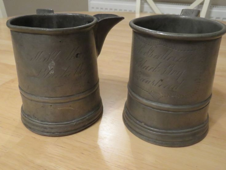 Pewter jugs from The Black Boy in Banstead