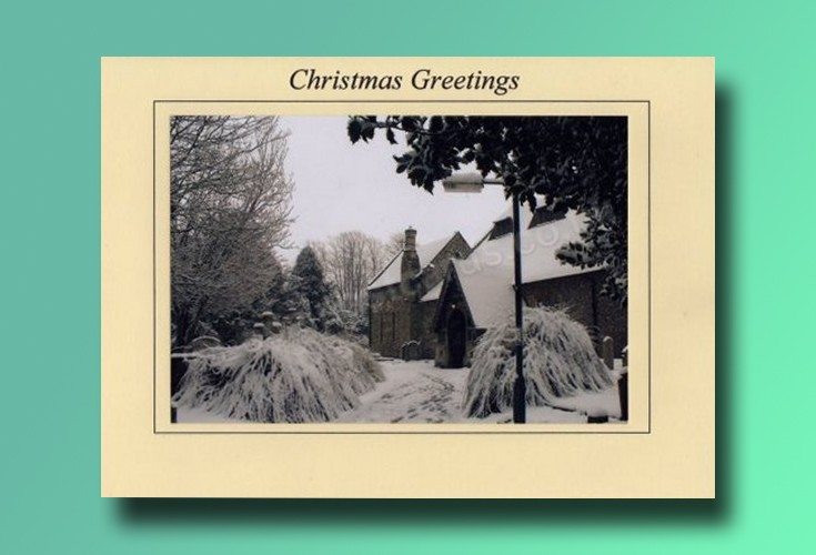 All Saints Church porch - Banstead Christmas card