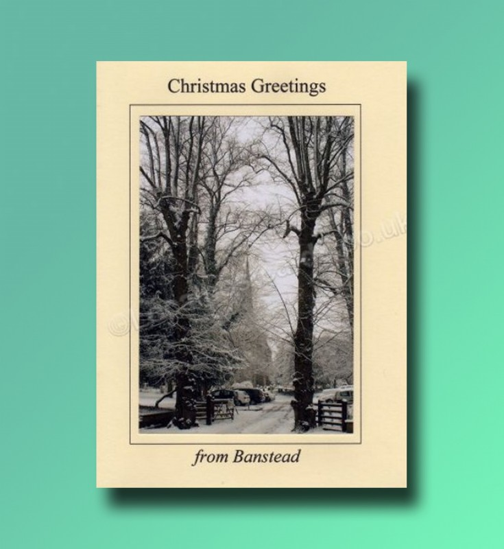 All Saints Church trees - Banstead Christmas card