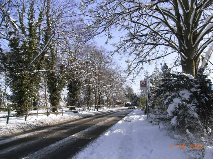 Fir Tree Road, Nork, Banstead in the snow