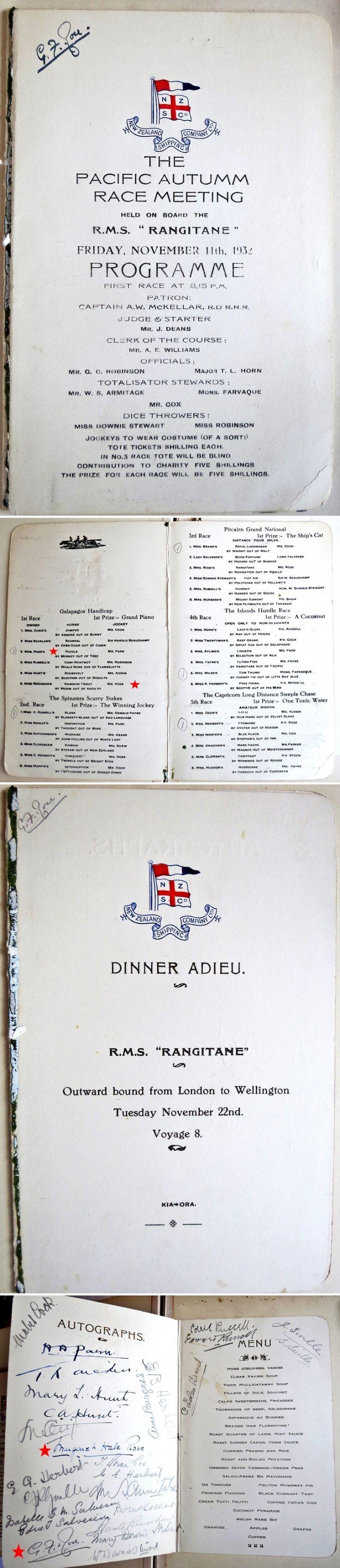 8 Menus on board the RMS Rangitane