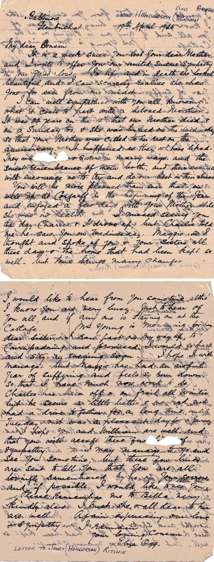 10 Letter to Jessie Ritchie from Eliza Ogg
