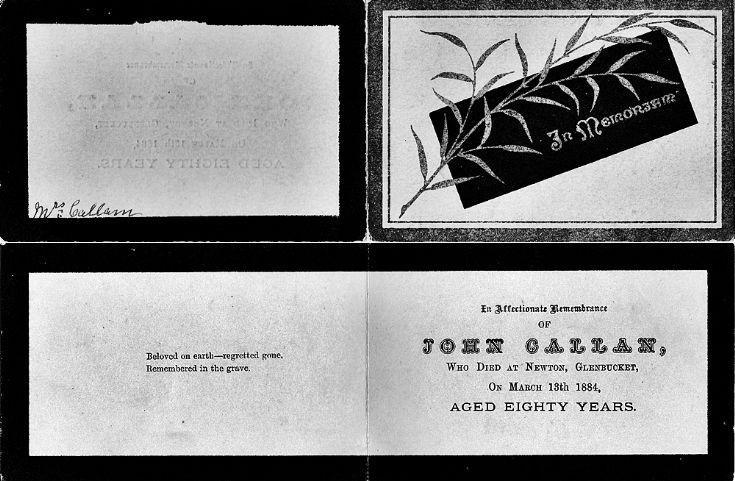 125 John Callum Funeral Card 1884
