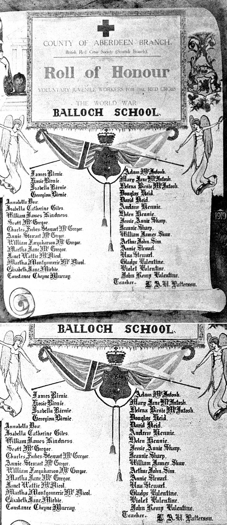 135 Balloch School Roll of Honour WW1