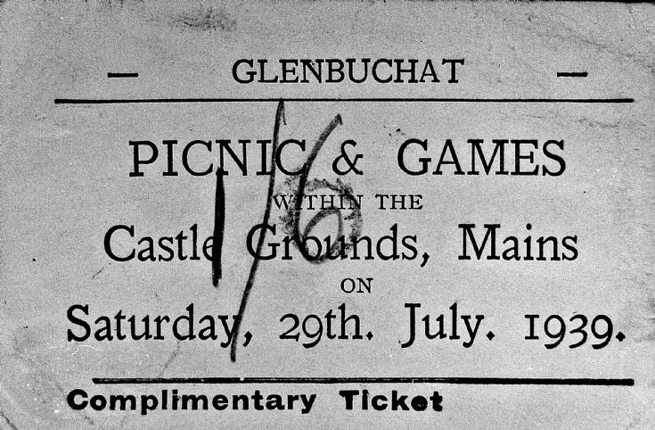182 Ticket for Glenbuchat Games 1939