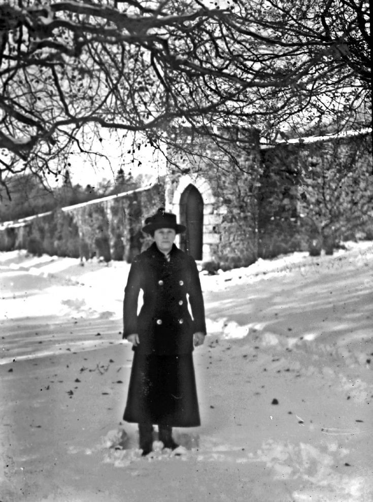 45 Winter in garden at Castle Newe c 1910