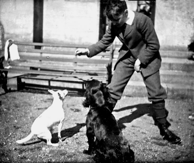 53 John Forbes with dogs at Castle Newe