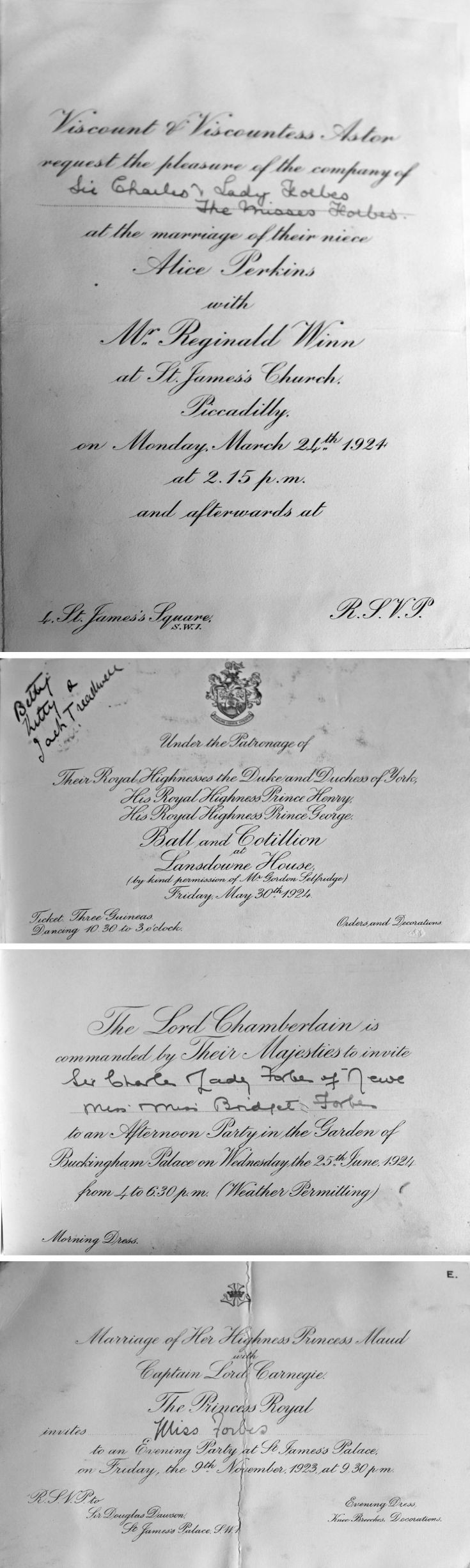25 Bettines Social Invitations 1923