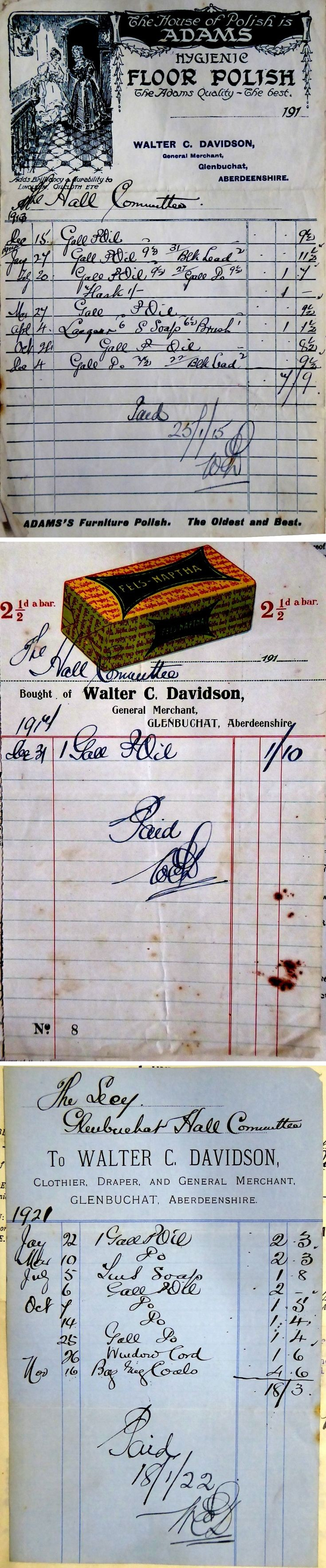 44 Invoices for Hall from Walter Davidson