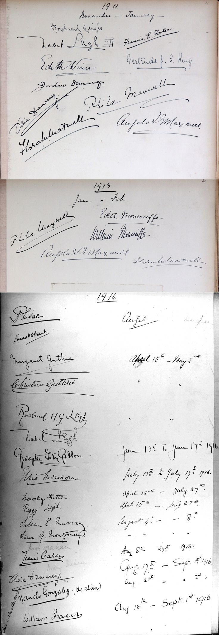 41 Newe Castle Visitors Book 1911