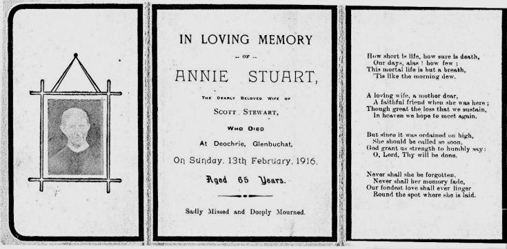 115 Funeral card Annie Stewart