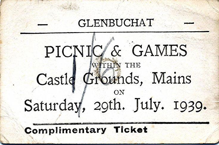 119 Glenbuchat games ticket 1939
