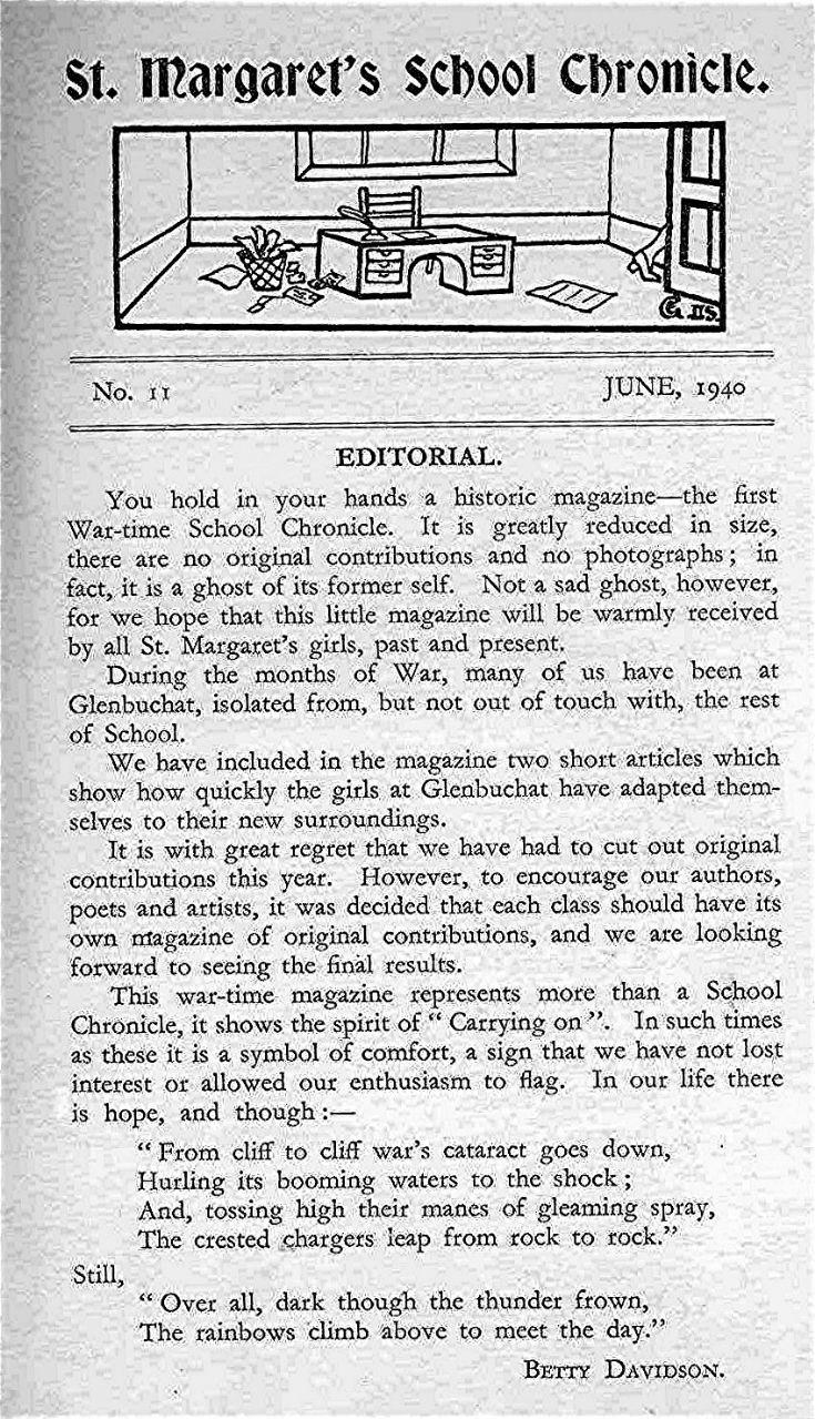 1 St Margarets School Chronicle 1940 Editorial