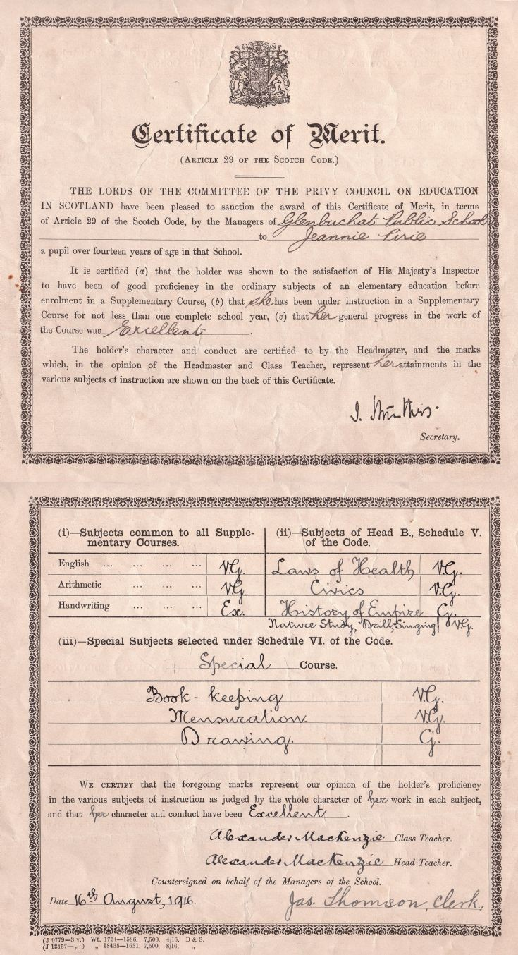 96 Certificate of merit 1916