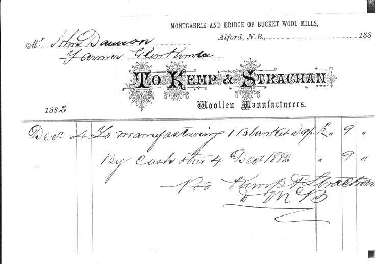 105 Receipt from Glenbucket Woolen Mill