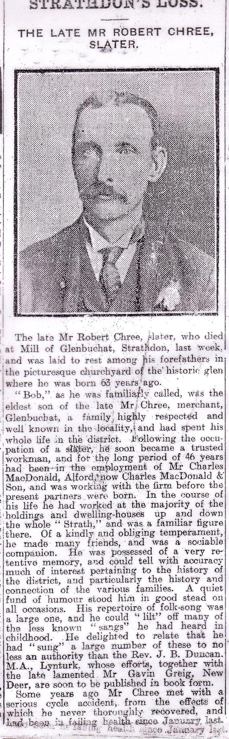 134 Robert Chree Obituary 1915