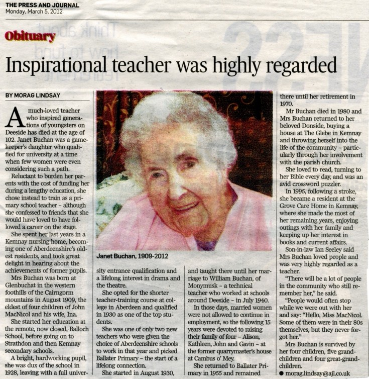 136 Obituary for Janet Buchan nee McNicol.