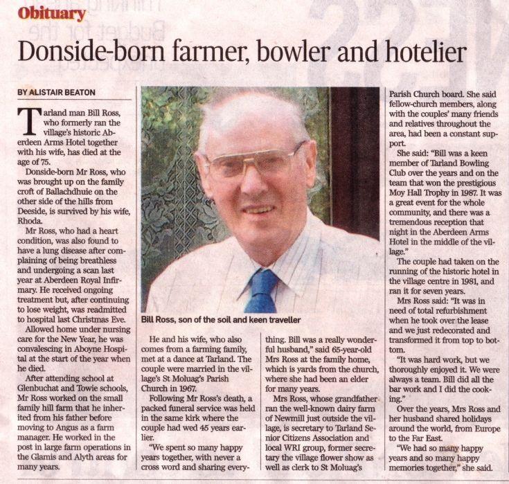 141 Bill Ross of Ballochdhuie, Obituary