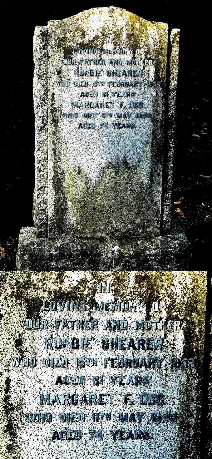 8 Grave Stone No 5 Robbie Shearer & Margaret Ogg