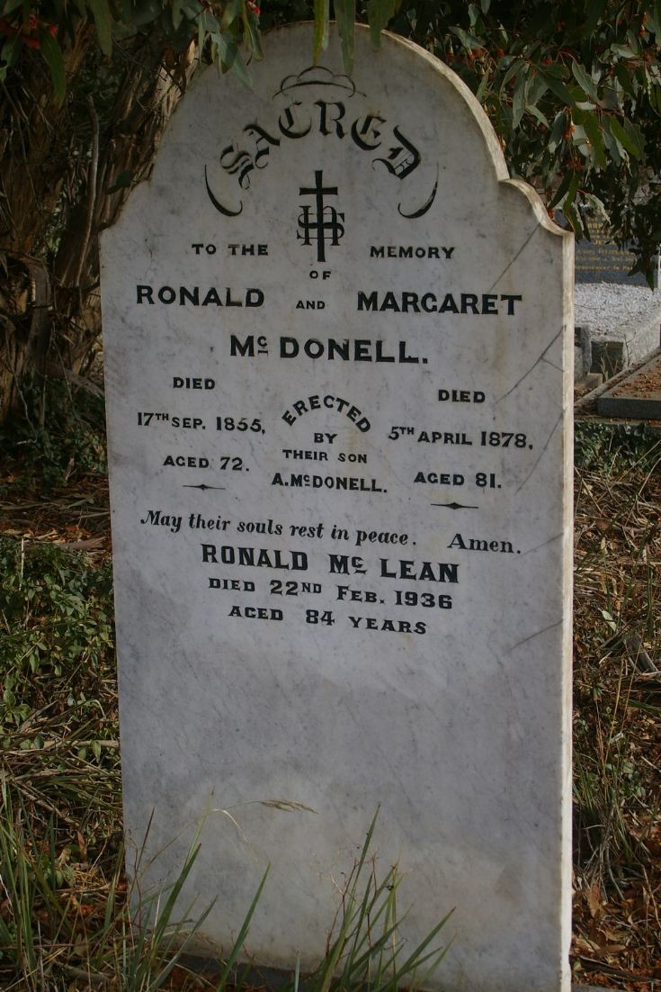 Headstone of Ronald and Margaret MacDonell