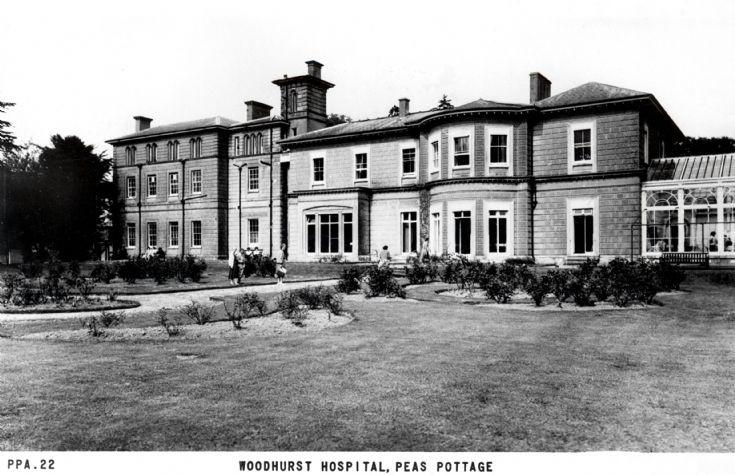 Woodhurst Hospital and rose beds
