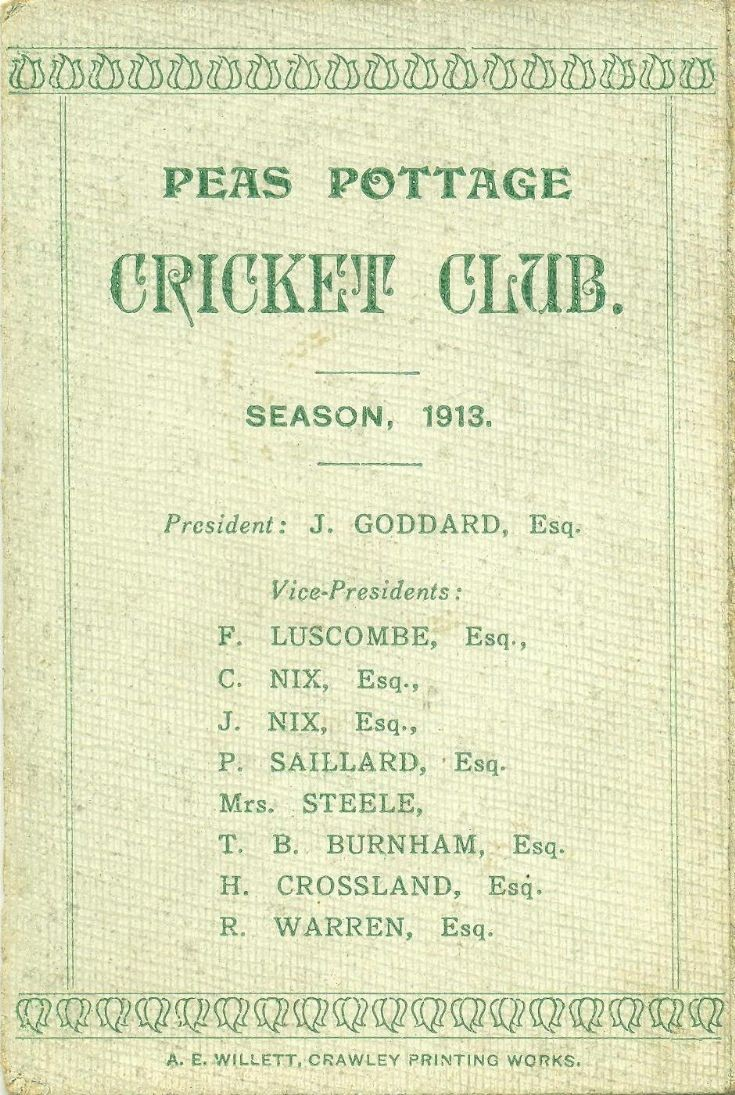 Pease Pottage cricket fixtures card