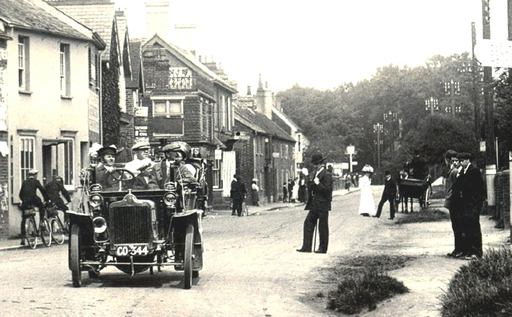 Motor car in High Street, Handcross