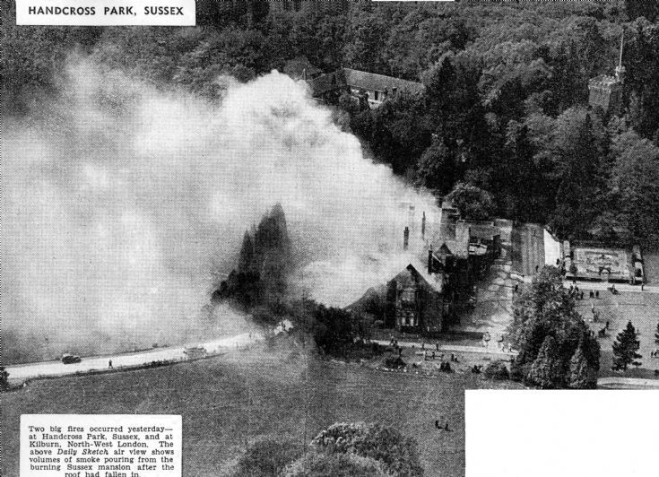 Aerial picture of fire at Handcross Park