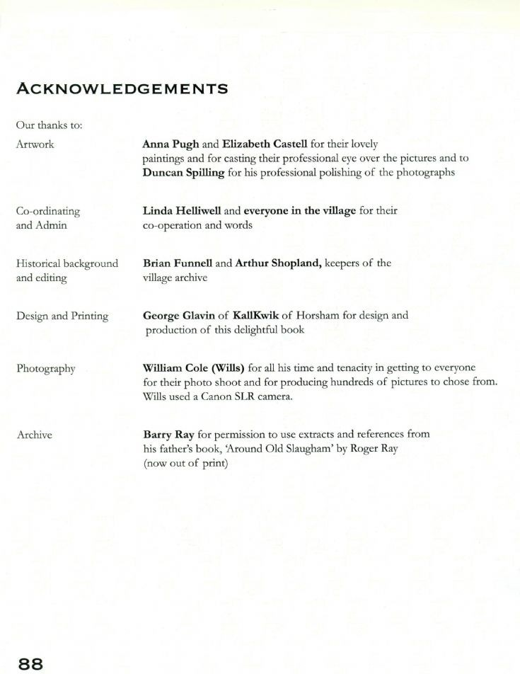 Slaugham Year Book acknowledgements