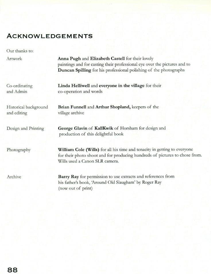 Slaugham Year Book acknowledgements