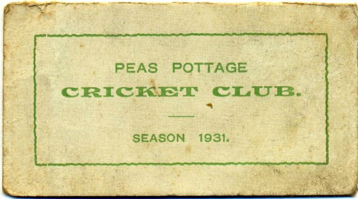 Pease Pottage cricket club fixtures card 1931