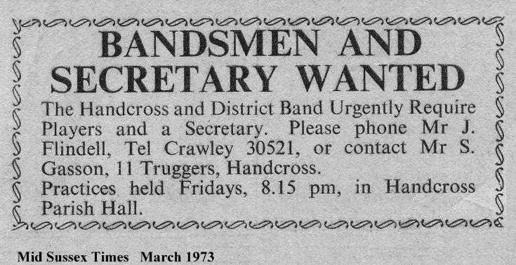 Handcross Band recruitment drive