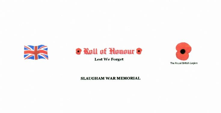 Slaugham Roll of Honour for the Great War 1914-18