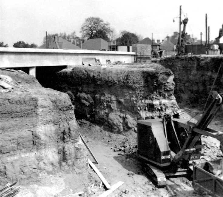 The new bridge, Handcross, with excavator