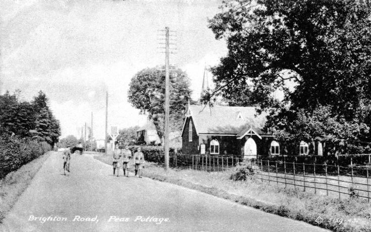 Soldiers outside the Tin Church, Pease Pottage