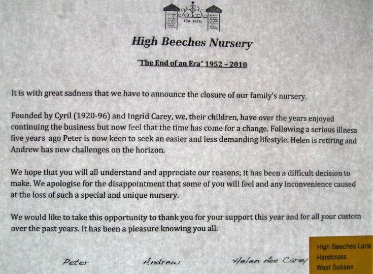 High Beeches Nursery end of an era