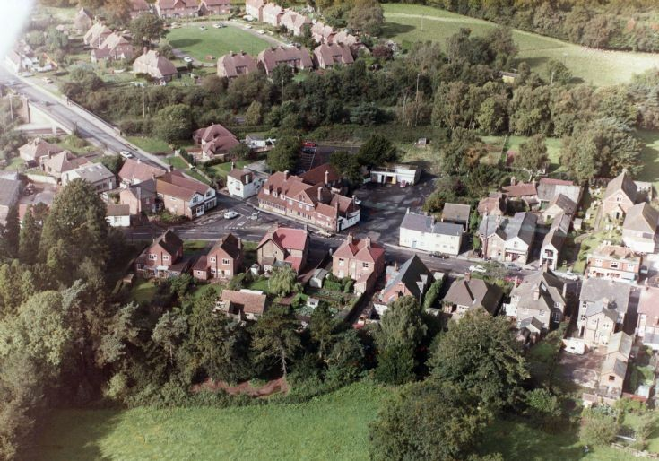 Aerial view of Handcross village