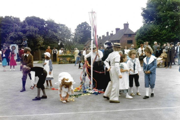 Maypole dancing at Handcross School celebrations