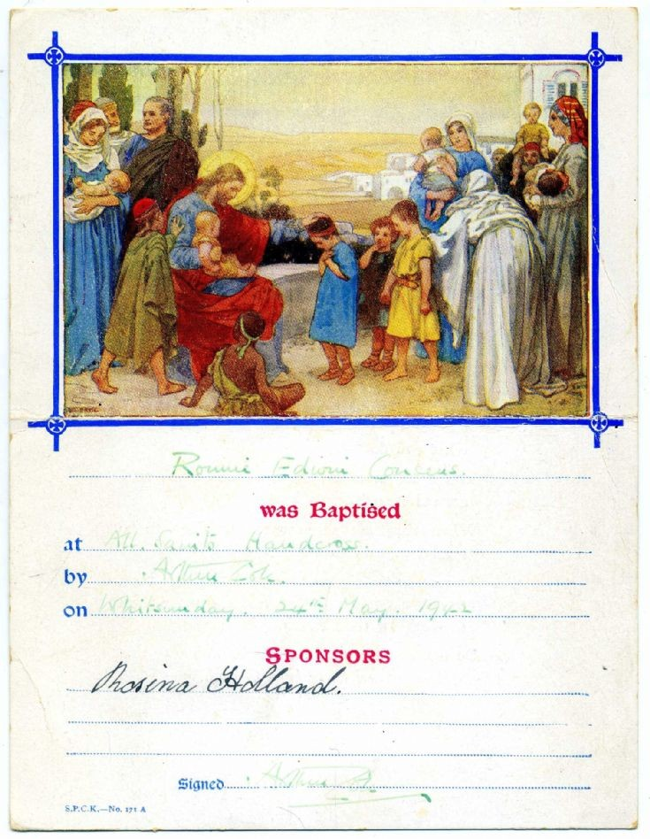 Baptism certificate at All Saints, Handcross