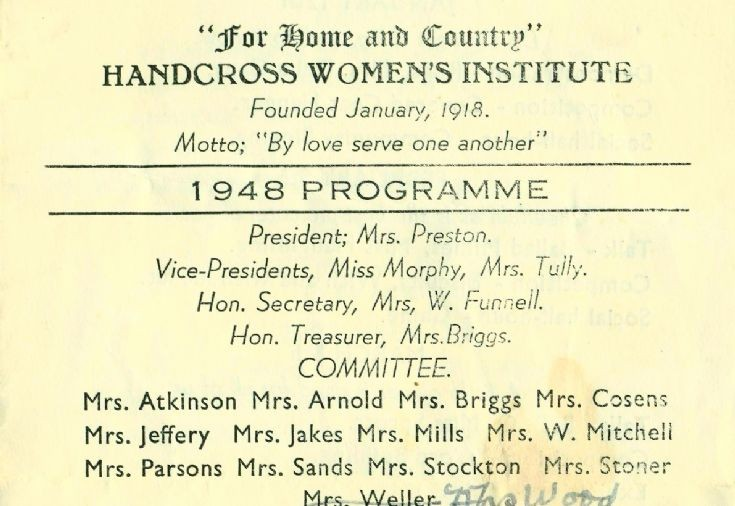 Handcross Women's Institute programme for 1948