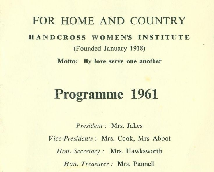 Handcross Women's Institute programme for 1961