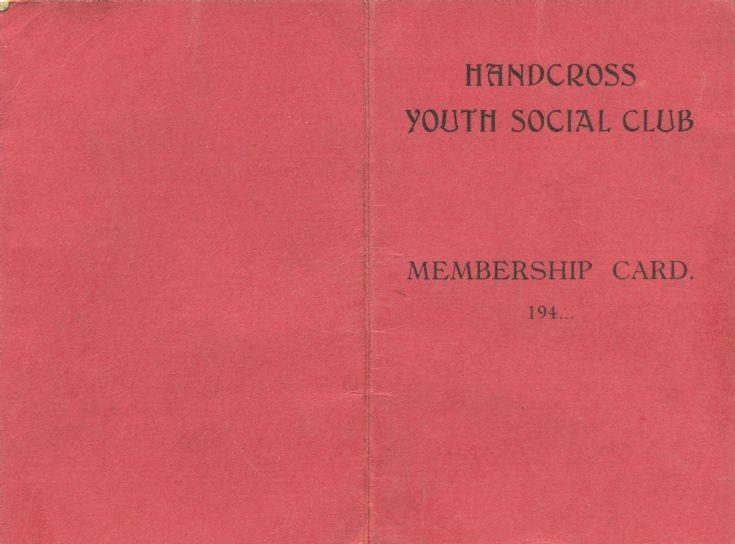 Handcross Youth Club membership card